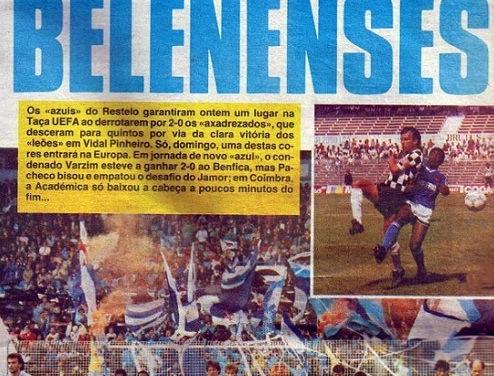5 de Junho de 1988 – Belenenses obtém 19ª presença no pódio do Campeonato Nacional