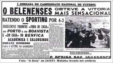 23 de Setembro de 1951 – Estreia de Matateu em jogos oficiais pelo Belenenses