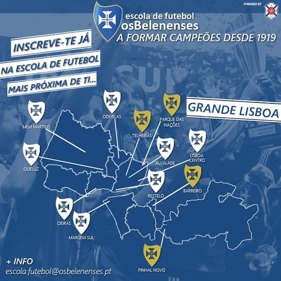 mapa escolas lisboa 12 Escolas de Futebol na Grande Lisboa | Clube de Futebol