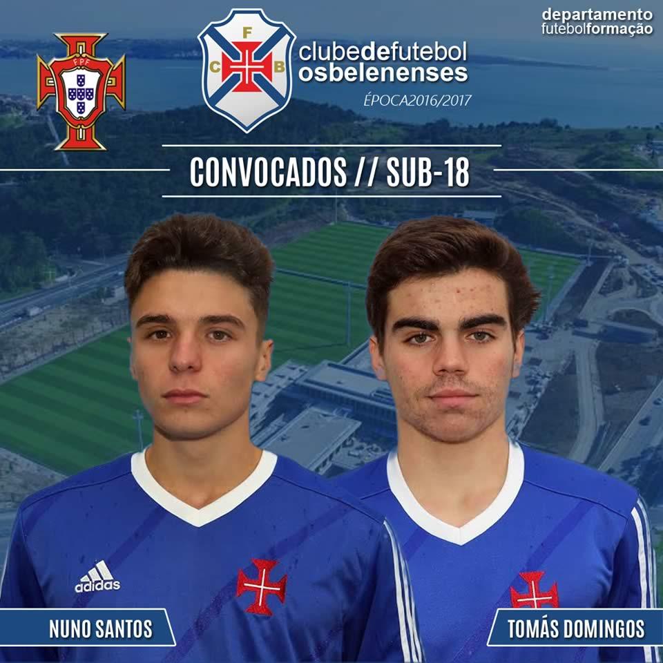 Tomás Domingos e Nuno Santos na Selecção Sub-18