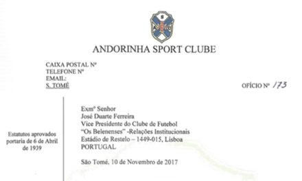Restabelecidas as relações regulares com o Andorinha SC de São Tomé
