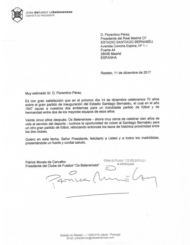 Carta ao Real Madrid | Dezembro de 2017