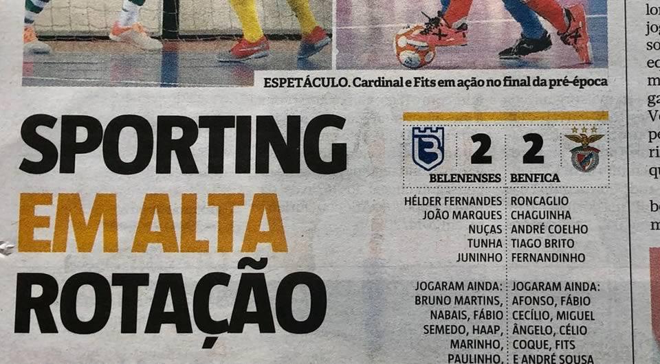 Jornal Record – Comunicado da Secção de Futsal do CFB